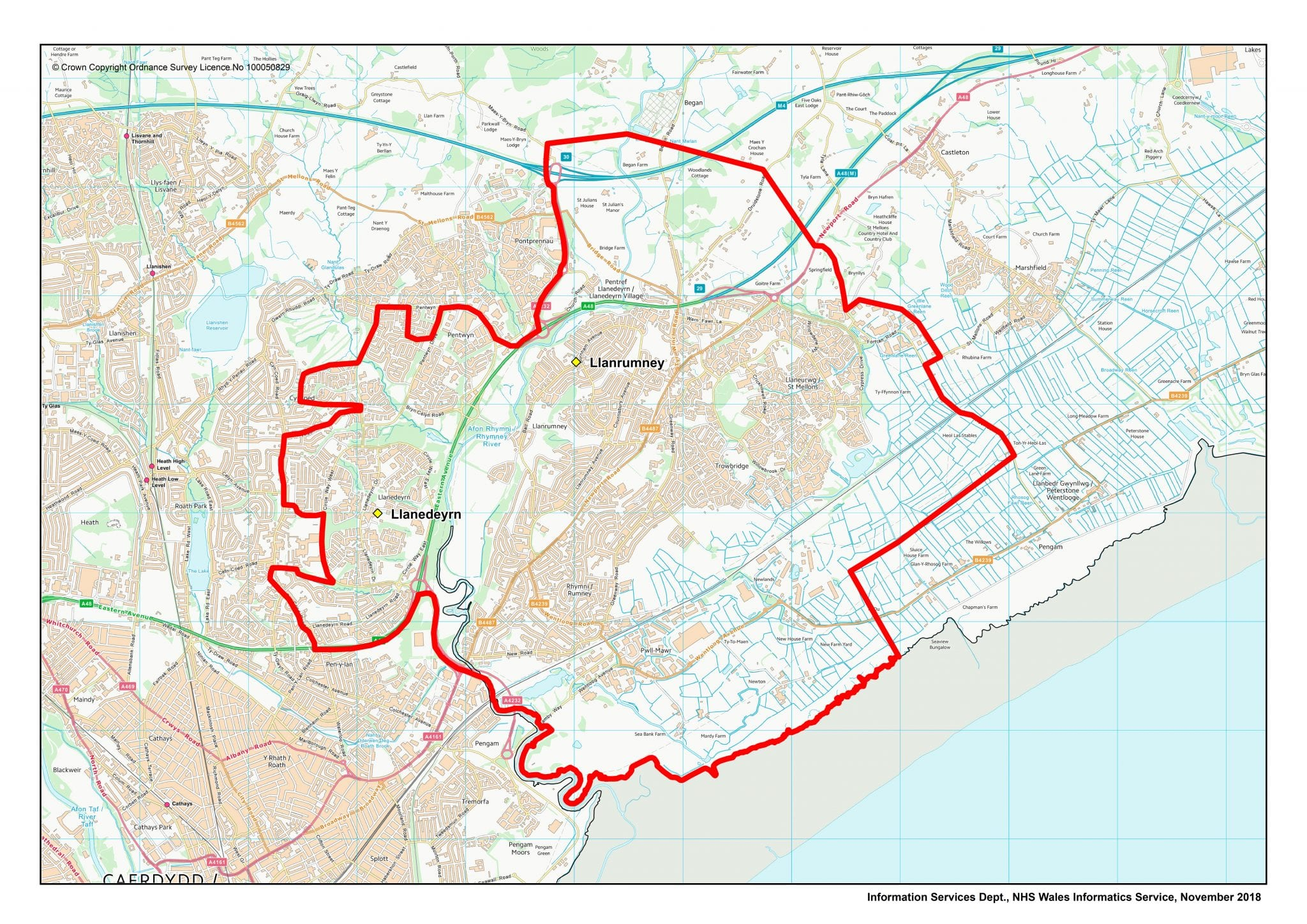 Llan Healthcare Boundary Map